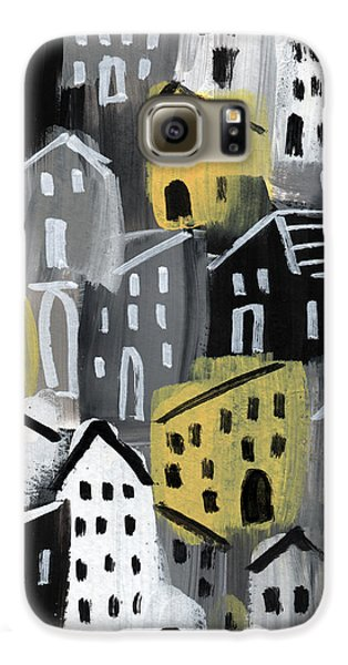 Town Galaxy S6 Case -  Rainy Day - Expressionist Art by Linda Woods