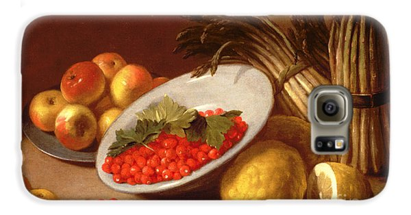 Still Life Of Raspberries Lemons And Asparagus  Galaxy S6 Case by Italian School