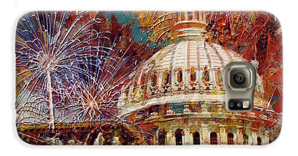 070 United States Capitol Building - Us Independence Day Celebration Fireworks Galaxy S6 Case by Maryam Mughal