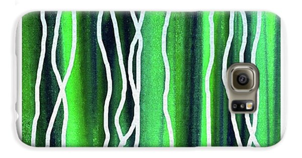Cool Galaxy S6 Case - Abstract Lines On Green by Irina Sztukowski