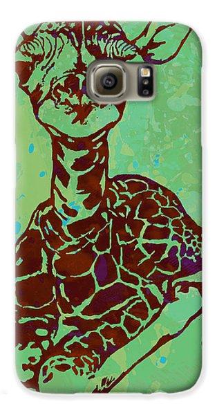 Baby Giraffe - Pop Modern Etching Art Poster Galaxy S6 Case by Kim Wang
