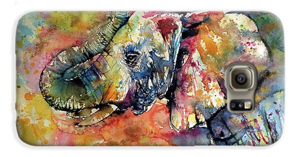 Mammals Galaxy S6 Case - Big Colorful Elephant by Kovacs Anna Brigitta
