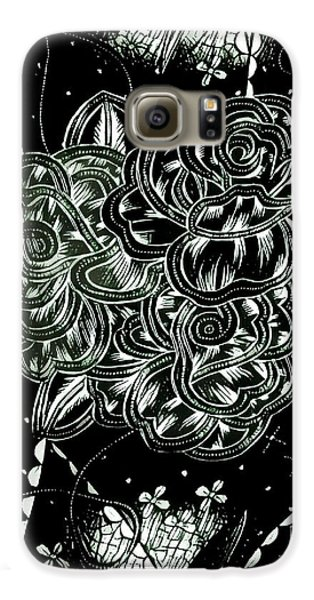 Black Flower Galaxy S6 Case