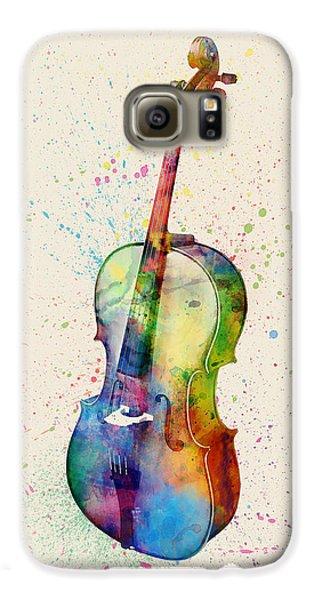Violin Galaxy S6 Case - Cello Abstract Watercolor by Michael Tompsett