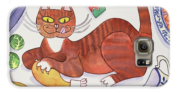 Christmas Cat And The Turkey Galaxy S6 Case by Cathy Baxter
