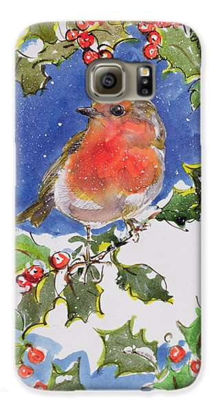 Christmas Robin Galaxy S6 Case by Diane Matthes