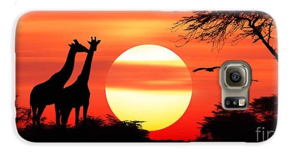 Giraffes At Sunset Galaxy S6 Case
