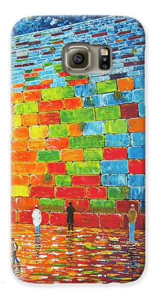Galaxy S6 Case featuring the painting Jerusalem Wailing Wall Original Acrylic Palette Knife Painting by Georgeta Blanaru