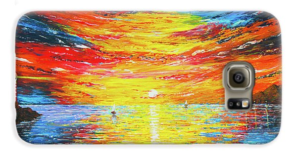 Galaxy S6 Case featuring the painting  Lighthouse Sunset Ocean View Palette Knife Original Painting by Georgeta Blanaru