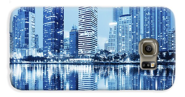 Night Scenes Of City Galaxy S6 Case by Setsiri Silapasuwanchai