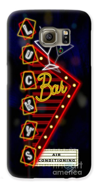 Nightclub Sign Luckys Bar Galaxy S6 Case