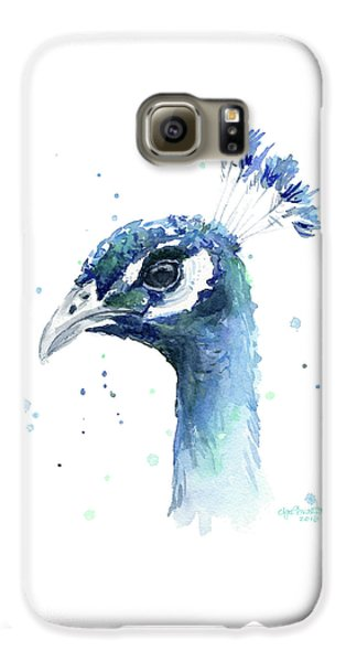 Peacock Watercolor Galaxy S6 Case by Olga Shvartsur