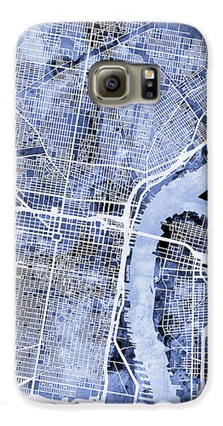 Philadelphia Pennsylvania City Street Map Galaxy S6 Case by Michael Tompsett