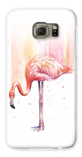 Pink Flamingo Watercolor Rain Galaxy S6 Case by Olga Shvartsur