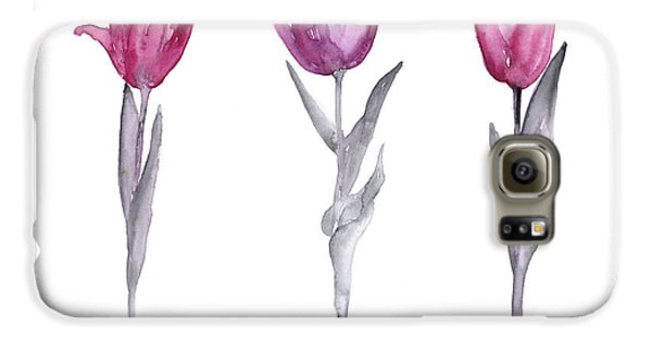 Garden Galaxy S6 Case - Purple Tulips Watercolor Painting by Joanna Szmerdt