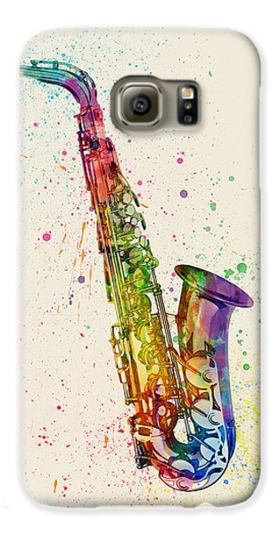 Saxophone Galaxy S6 Case - Saxophone Abstract Watercolor by Michael Tompsett