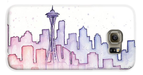 Seattle Galaxy S6 Case - Seattle Skyline Watercolor by Olga Shvartsur