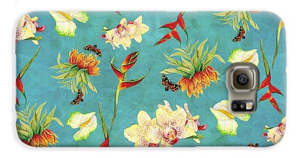 Tropical Island Floral Half Drop Pattern Galaxy S6 Case