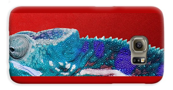 Bright Galaxy S6 Case - Turquoise Chameleon On Red by Serge Averbukh