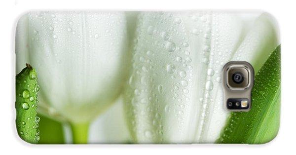 White Tulips Galaxy S6 Case by Nailia Schwarz