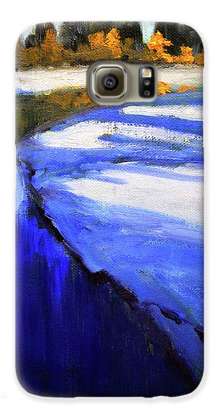 Galaxy S6 Case featuring the painting Winter River by Nancy Merkle