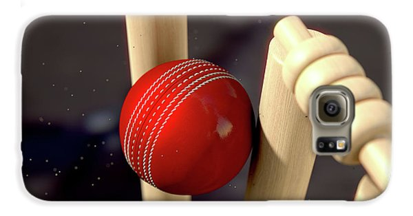 Cricket Ball Hitting Wickets Galaxy S6 Case