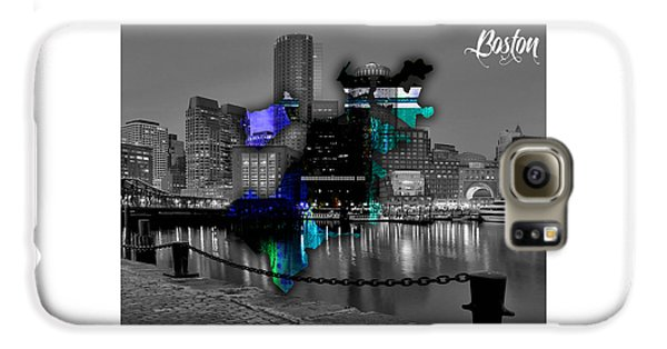 Boston Map And Skyline Watercolor Galaxy S6 Case