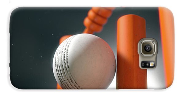 Cricket Ball Hitting Wickets Galaxy S6 Case by Allan Swart