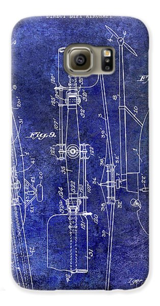 1935 Helicopter Patent Blue Galaxy S6 Case by Jon Neidert