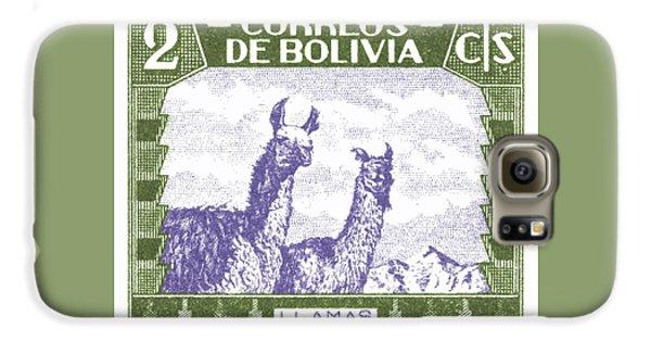 Llama Galaxy S6 Case - 1939 Bolivia Llamas Postage Stamp by Retro Graphics