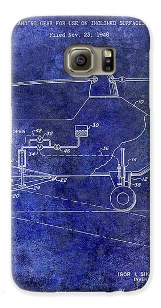 1953 Helicopter Patent Blue Galaxy S6 Case by Jon Neidert