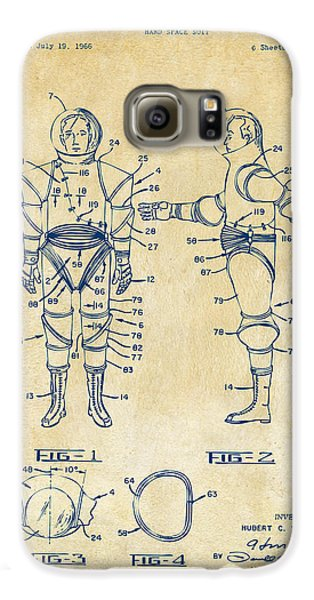 1968 Hard Space Suit Patent Artwork - Vintage Galaxy S6 Case by Nikki Marie Smith