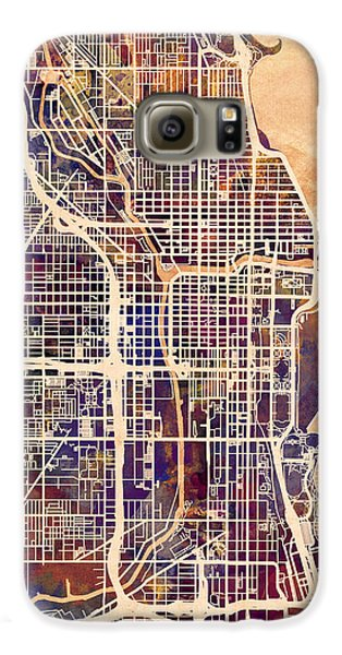 Sears Tower Galaxy S6 Case - Chicago City Street Map by Michael Tompsett