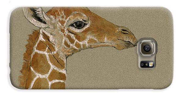 Giraffe Head Study  Galaxy S6 Case by Juan  Bosco