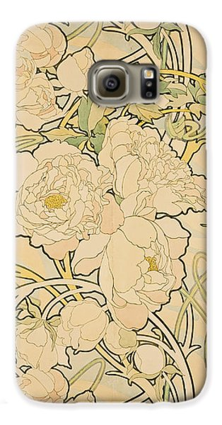 Flowers Galaxy S6 Case - Peonies by Alphonse Mucha