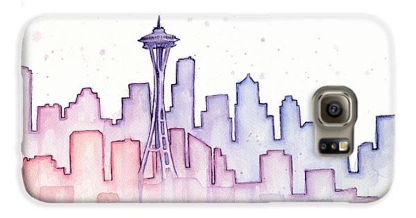 Seattle Skyline Watercolor Galaxy S6 Case by Olga Shvartsur