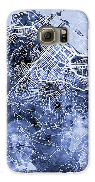 Town Galaxy S6 Case - Cape Town South Africa City Street Map by Michael Tompsett