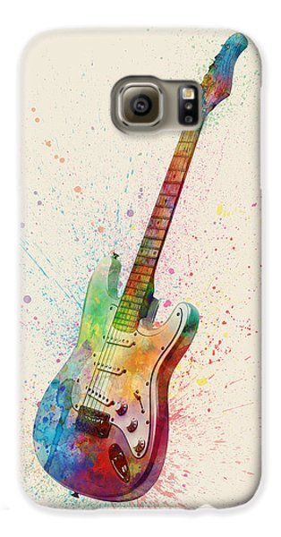 Electric Guitar Abstract Watercolor Galaxy S6 Case by Michael Tompsett