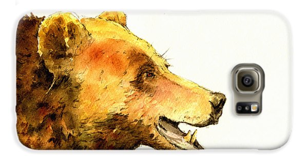 Grizzly Bear Galaxy S6 Case - Grizzly Bear Watercolor Painting by Juan  Bosco