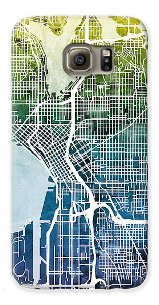 Seattle Washington Street Map Galaxy S6 Case by Michael Tompsett