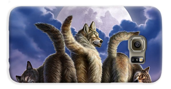 3 Wolves Mooning Galaxy S6 Case by Jerry LoFaro