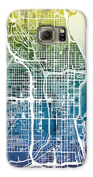 Chicago Galaxy S6 Case - Chicago City Street Map by Michael Tompsett