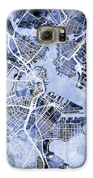 Boston Galaxy S6 Case - Boston Massachusetts Street Map by Michael Tompsett