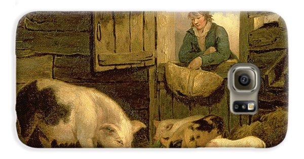 Boy George Galaxy S6 Case - A Boy Looking Into A Pig Sty by George Morland