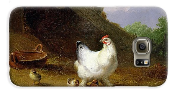 Chicken Galaxy S6 Case - A Hen With Her Chicks by Eugene Joseph Verboeckhoven