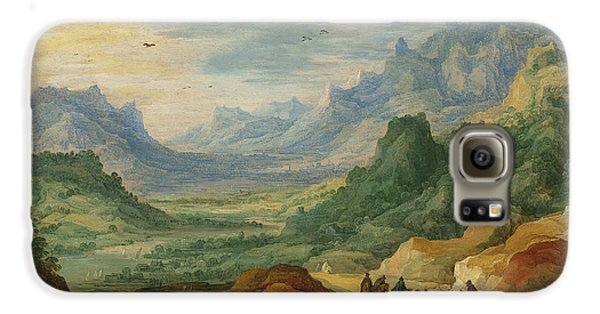 A Mountainous Landscape With Travellers And Herdsmen On A Path Galaxy S6 Case by Jan Brueghel and Joos de Momper