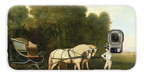 Boy George Galaxy S6 Case - A Phaeton With A Pair Of Cream Ponies In The Charge Of A Stable-lad by George Stubbs