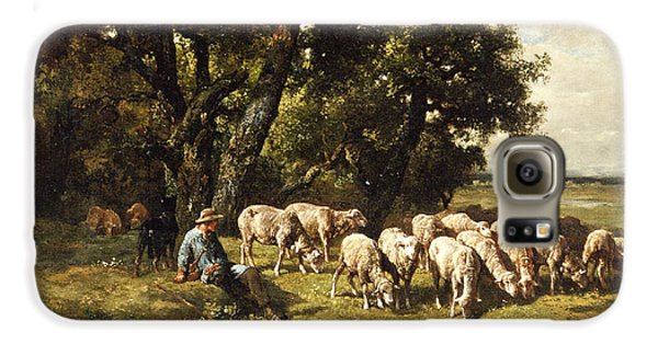Sheep Galaxy S6 Case - A Shepherd And His Flock by Charles Emile Jacques