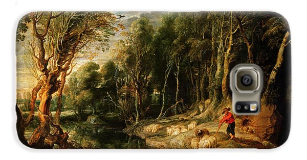 A Shepherd With His Flock In A Woody Landscape Galaxy S6 Case by Rubens