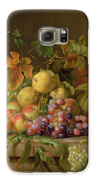 A Still Life Of Melons Grapes And Peaches On A Ledge Galaxy S6 Case by Jakob Bogdani
